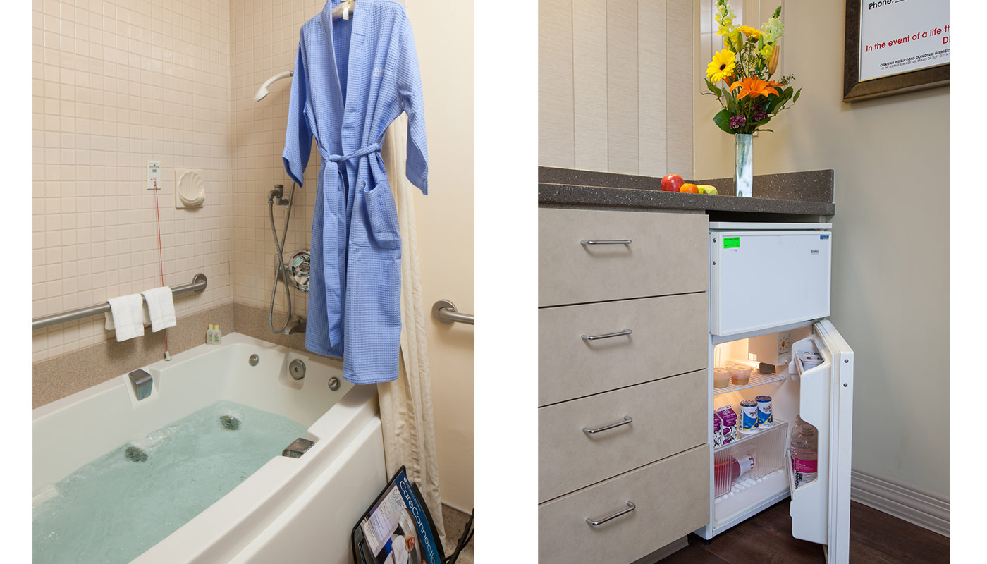 Including lavender towel service, satin robe for mom, fresh baked cookies and a Jacuzzi tub